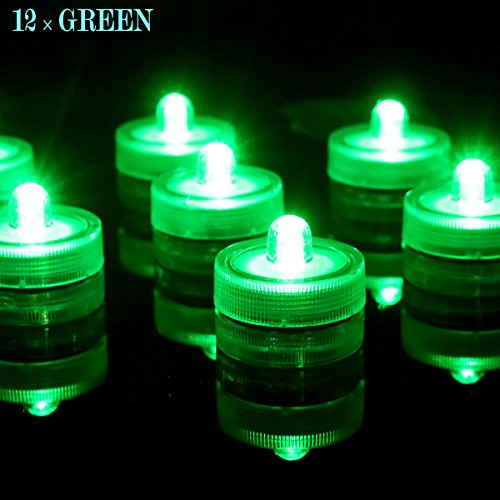 Tulip Floral Sconce (Bright LED Battery Operated Flameless Tea Light, Submersible Tea Candle Waterproof Decorations Underwater Vase Light for Party and Wedding, Pack of 12, Green)