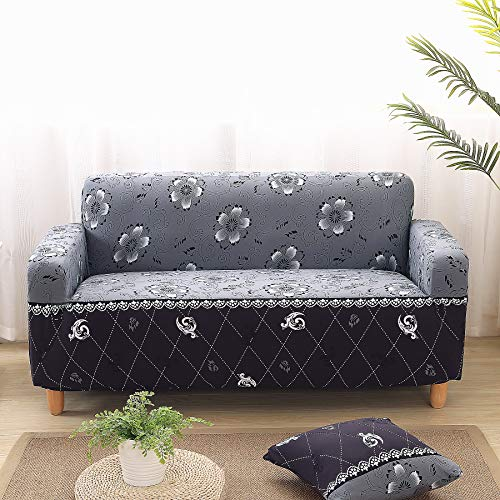 Enova Home Elegant Polyester and Spandex Stretch Fabric Washable Box Cushion loveseat Slipcover Furniture Protector for Living Room (Grey Flower, Loveseat) ()