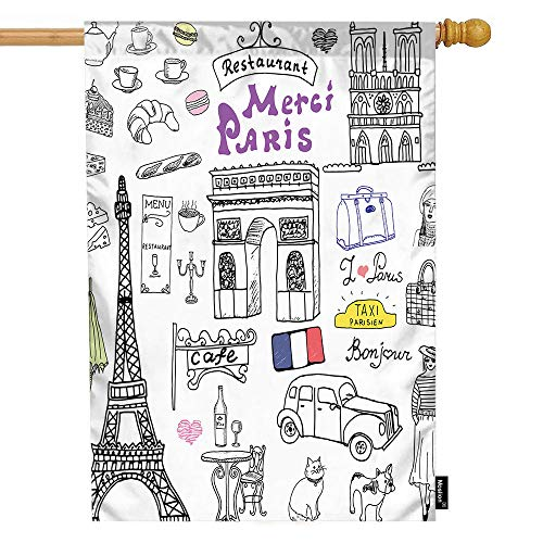 (Moslion Paris House Flag Eiffel Tower Cat French Bulldog Cafe Car Triumph Arch Cathedral European City Garden Flags 28x40 Inch Double-Sided Banner Welcome Yard Flag Home Outdoor Decor. Lawn)