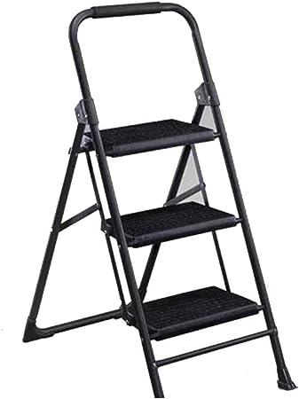 Bseack_store Escalera Escalera Unilateral/Escalera doméstica en Espiga Segura y Estable Escalera de 3 Pasos Antideslizante Pedal Plegable ensanchado engomado Acero Inoxidable Gris Mate: Amazon.es: Hogar