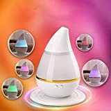Facial Yoga Certification - Ultrasonic Essential Oil Diffuser, Air Humidifier Cool Mist Aroma Purifier 7 Color LED Light USB Powered Low Noise for Bedroom Baby Room (White)
