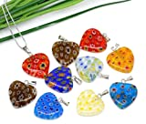 PEPPERLONELY Brand 20PC Mixed Millefiori Glass Lampwork Heart Charm Pendants 20x20mm