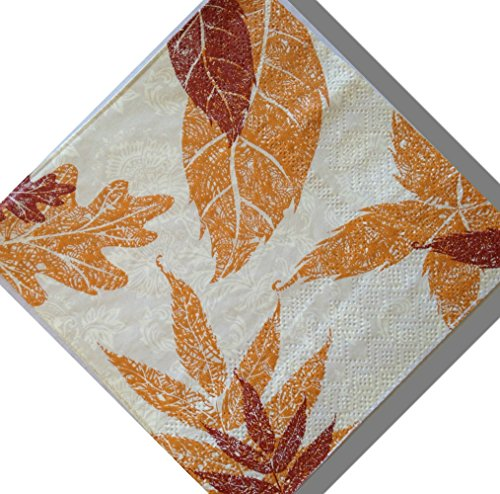 "Custom Made & Disposable {9.88"" Inch} 4 Count of 3 Ply Large Square Food & Beverage Napkins, Made of Soft Absorbent Paper w/ Cute Simple Leaf Floral Tea Party Autumn Classic Style {Red, Orange & Tan}"
