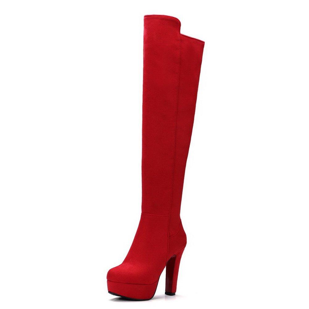 AgooLar Zip 1683 Femme Couleur Unie Rouge à Talon Haut Rond Zip Bottes avec Métal Rouge 6a69899 - deadsea.space