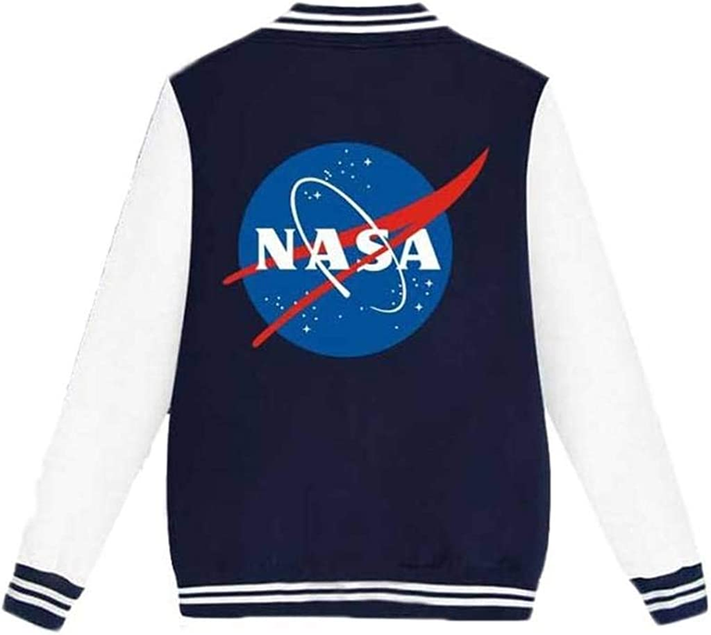 Coli/&Tori Womens Single Breasted Letterman NASA Print Baseball Varsity Jacket