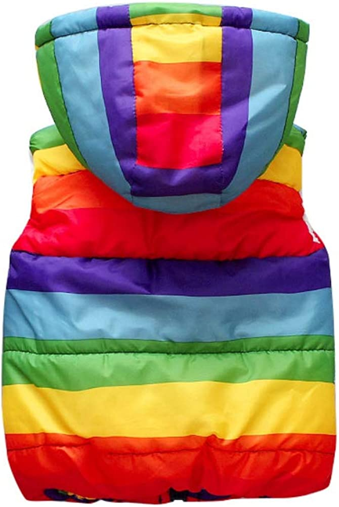 BOBORA Kids Winter Waistcoat Baby Girls Boys Warm Hoodie Vest Dinosaur Rainbow Hoodie Gilet Vest Coats Outwear Clothing for 0-7Years
