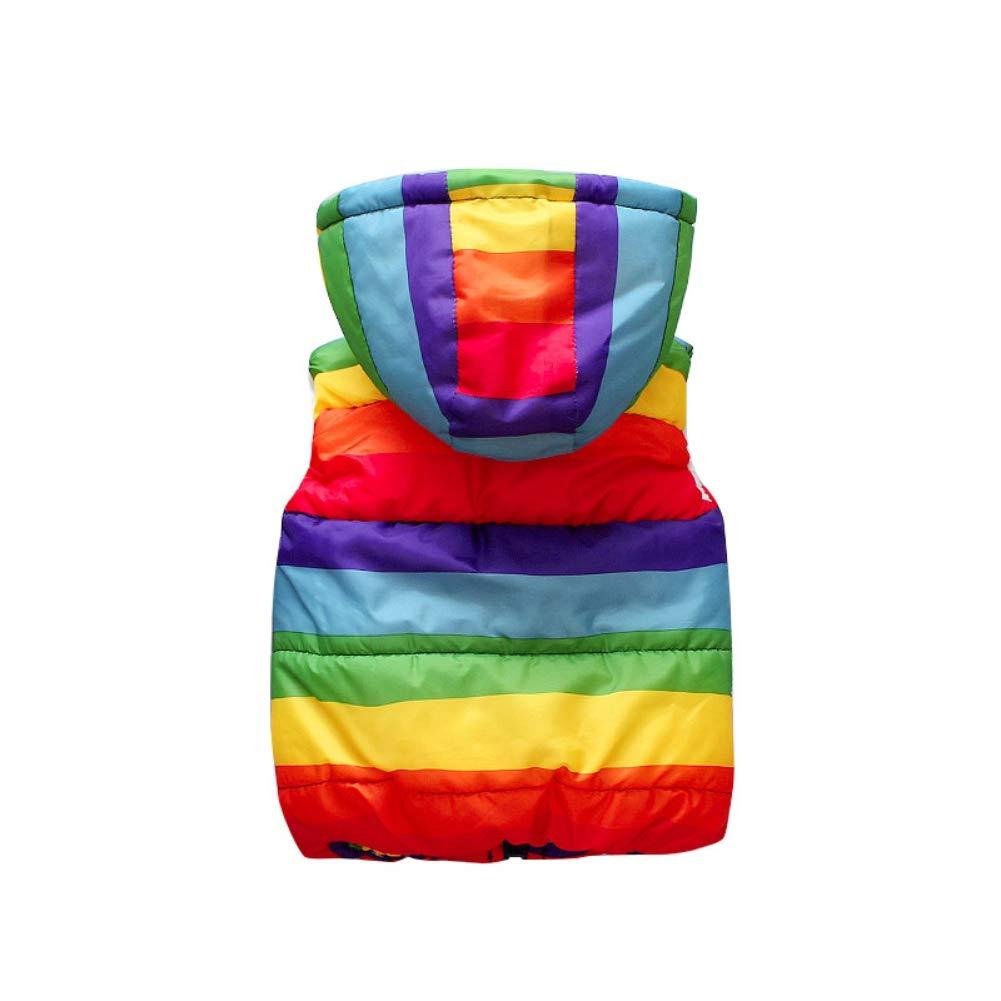 Loveble Baby Boys Girls Hooded Vest Jacket Rainbow Striped Sleeveless Gilet