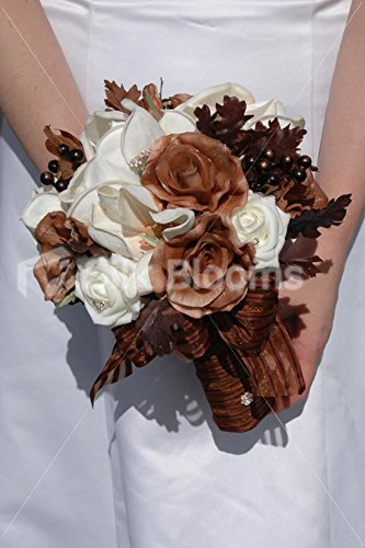 Christmas Wedding Bouquets Uk.Brown Ivory Rose Artificial Christmas Winter Wedding
