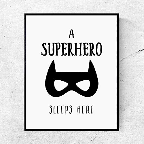 - A Superhero Sleeps Here Art Print Wall Decor Batman Art Print Poster Wall Pictures for Child Room Decoration Kids Gift Wall Art 8x10 InchesNo Frame