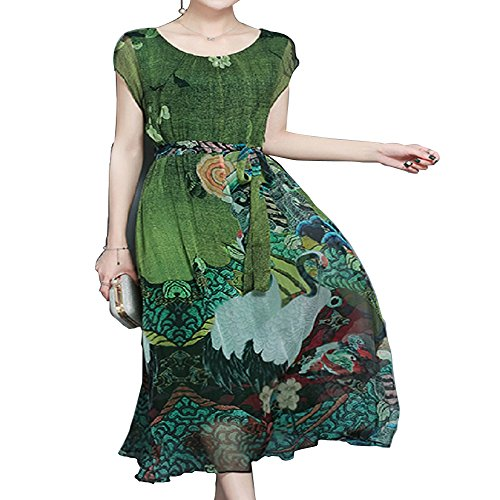 Floral Silk Maxi Dress (YANXILUNMEI Spring Summer Green Vintage Floral Print Dresses Women O-Neck Short Sleeve Silk Dress with Sashes Mid-Calf Vestidos Big Size 5XL (Medium, Green))
