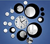 DIY Decorative Modern Mirror Wall Clock Sticker Acrylic Room Silent Large New Bedroom Living Room Children Office Decor Analog White Round Advance Numbers Self Abstract Black Hand Dial Universal