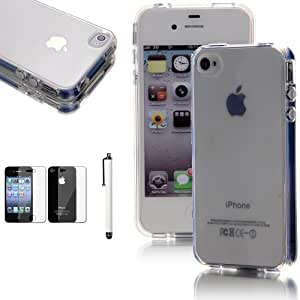ATC Masione(TM) Crystal Clear Flexible TPU Gel Case Back Cover for Apple iPhone 4 4S with Screen Protector & Stylus (Clear)