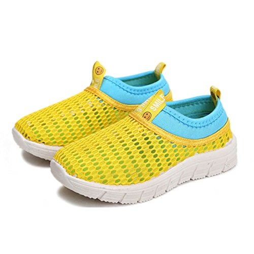 CIOR Kids Breathable Water Shoes Slip-on Sneakers For Running, Pool, Beach, Toddler/Little Kid/Big Kid,sk205yellow,26 2