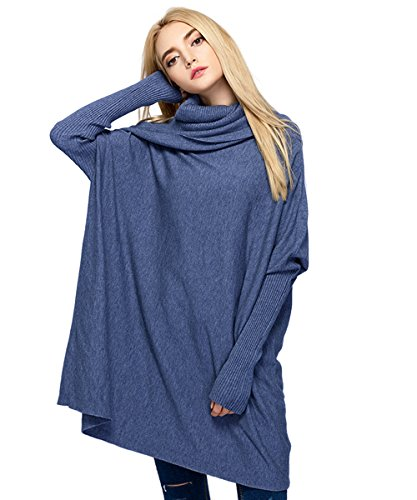 MML Womens Cowl Neck Long Sleeve Loose Knit Top Cable Pullover Sweaters (One Size, Blue)