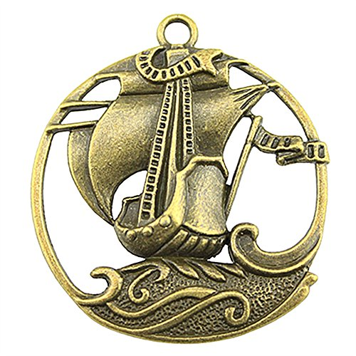 NEWME 9pcs pirate sailboat Charms Pendant For DIY Jewelry Wholesale Crafting Bracelet and Necklace Making (antique bronze)