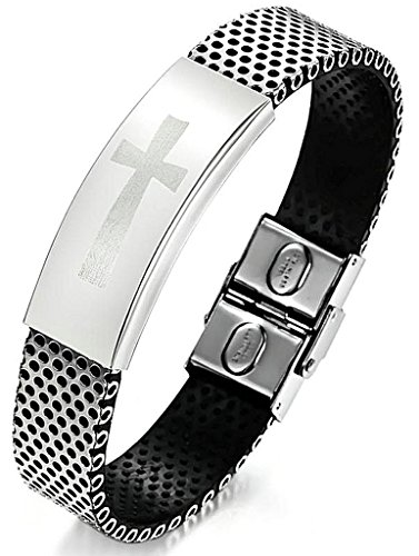 - ANAZOZ Jewelry Men's Fashion Bracelet PU Leather Stainless Steel Classic Cross Black 19CM
