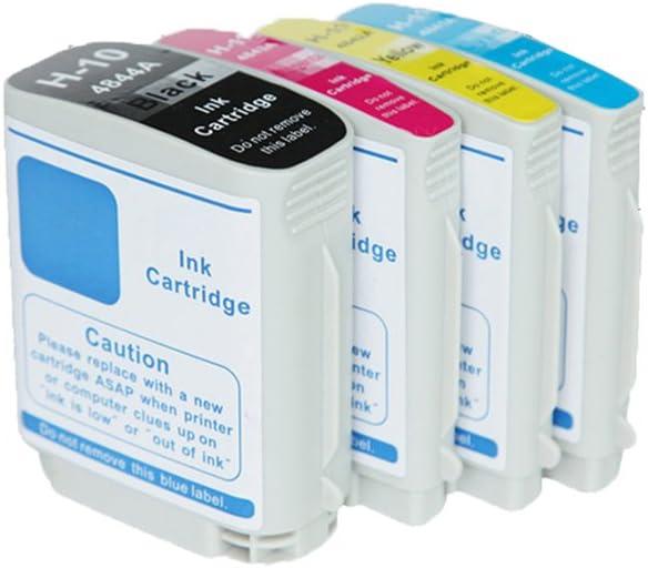 10 11 C4844A C4836A C4837A C4838A (4-Pack Negro Cian Magenta Amarillo) Cartuchos de Tinta Compatible para HP Designjet 100 100 plus 110 plus 110 plus nr 70: Amazon.es: Oficina y papelería