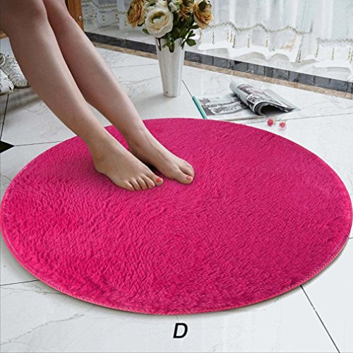 Rug Mat, 80cm Soft Coral Velvet Round Rug Anti-Skid -Chair Cover Wool Warm Hairy Carpet Seat,Floor Foam Carpet for Living Bedroom,Gym Exercise,Yoga Workout Indoor Decor (D, ()