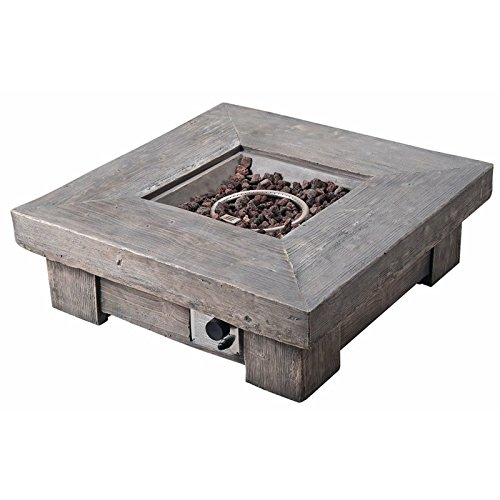Atlin Designs Peaktop Retro Square Propane Gas Fire Pit in Wood