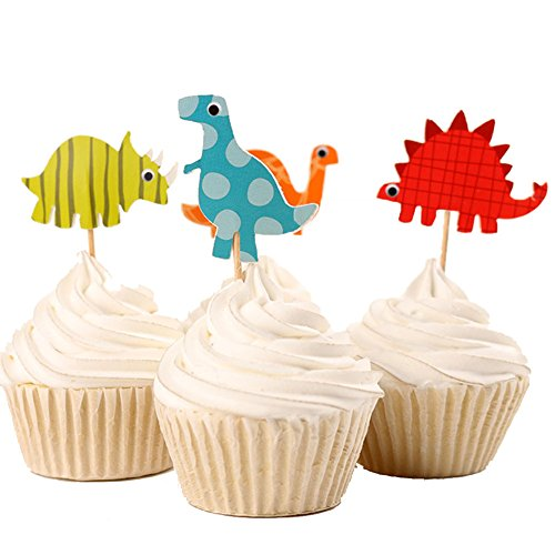 Betop House Set of 24 Pieces Cute Animals Giraffe Elephant Lion Zebra Dinosaurs Dessert Muffin Cupcake Toppers for Picnic Wedding Baby Shower Birthday Party Server