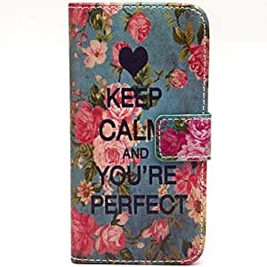 JAJAY Floral World War II Pattern PU Leather Full Body Case with Card Slot and Stand for iPhone 5/5S