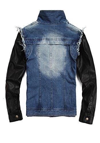 TM Men casual fashion outdoors Artificial leather sleeves denim jacke coat Punk
