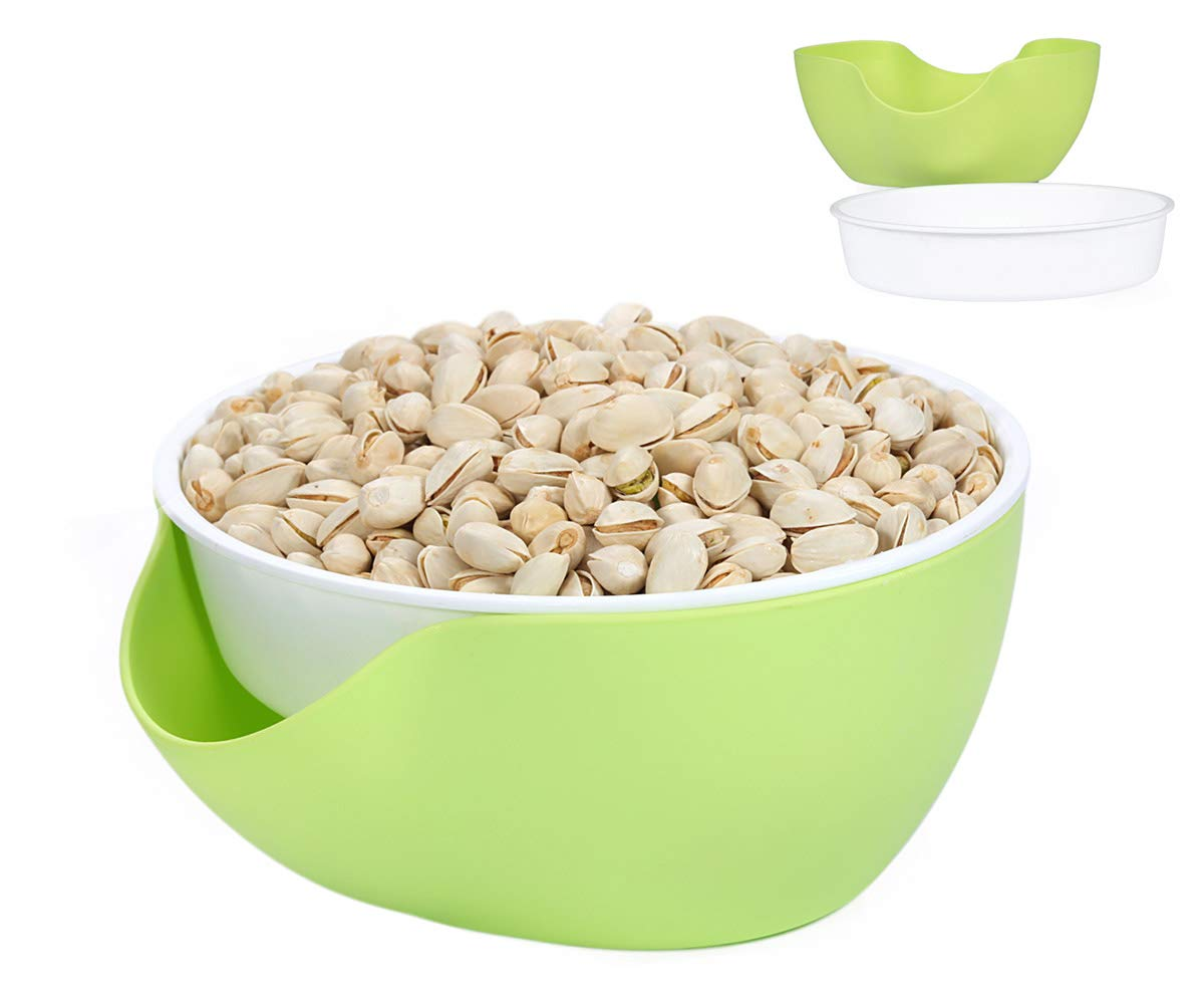 Pistachio Bowl, Nut Bowl - Pistachio, Peanut, Edamame, Cherry, Fruit, Double Bowl Snack Bowl (White/Green)
