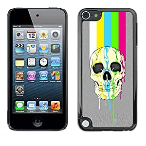 A-type Colorful Printed Hard Protective Back Case Cover Shell Skin for Apple iPod Touch 5 ( Rainbow Tv Skull Lines Grey Pattern )