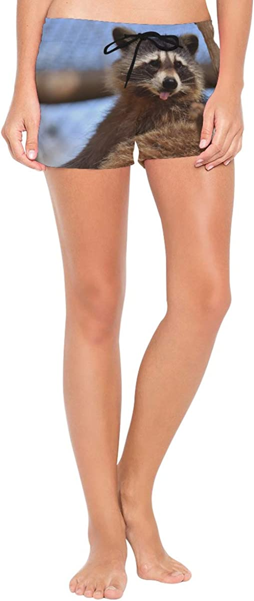 HEOEH Womens Cute Raccoon Tongue Sit Beach Shorts Pants Ladies Boardshort Swimming Trunks