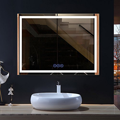 HYH Bathroom Vanity Mirror with Wireless Bluetooth Speaker and Bright Lights, Wall -
