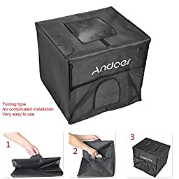 Andoer 60x55x55cm Foldable Studio Shooting LED Light Tent Kit Softbox with 3 Color Backdrops Power Adapter Carrying Bag