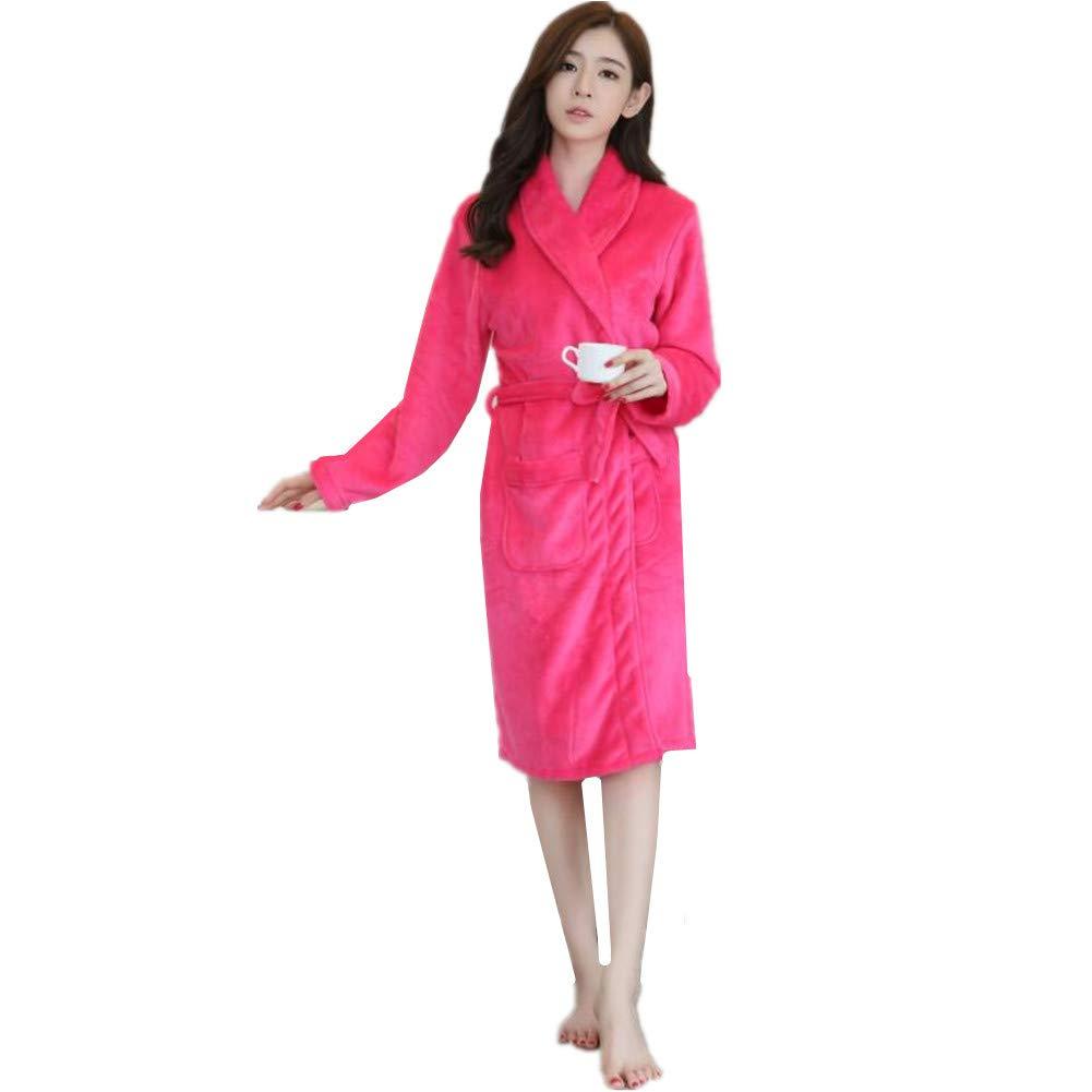 KKING Women's Full Length Fleece Robe Plus Size Super Soft, Warm Plush Winter Sleepwear Luxurious Couple Shower Nightgown with Pockets Long Shawl Collar Housecoat