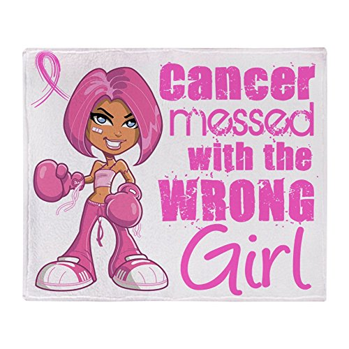 CafePress Animated Boxer Girl Breast Cancer Soft Fleece Throw Blanket, 50