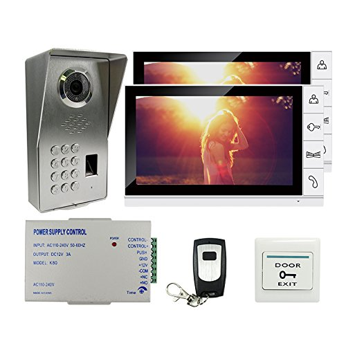 JOINLGO 9 Inch LCD Screen Video Door Phone Doorbell Intercom System With Waterproof Fingerprint Code Keypad Access Unlock Door Camera Full Metal Material Two Pcs White Color Panel Monitors