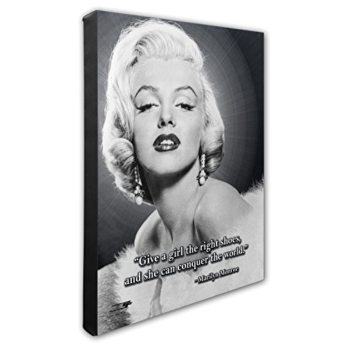 Photo File Marilyn Monroe Pro Quote Give a Girl The Rights Shoes Hand Stretched Canvas, 16'' x 20'' by Photo File
