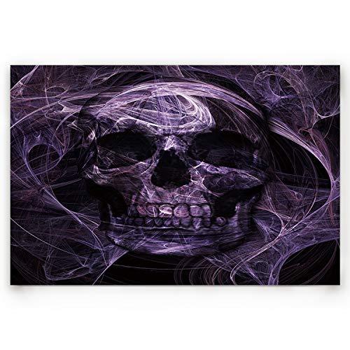 Skull Door Mat (BABE MAPS Indoor Doormat Entrance Welcome Mat Absorbent Kitchen Rug Non Slip Shower Mat Funny Abstract Mystic Purple Skull Home Decor for Inside Shoe Scraper Floor Carpet 30