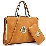 MKY Large Satchel Handbag Designer Purse Multicolor Tan w/Matching Wallet Shoulder Strap