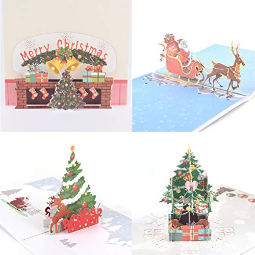 JUNKE 4 PCS 3D Christmas Cards Santa Claus/Deer /Fireplace/Christmas Tree Handmade Holiday Pop Up Greeting Card Thank You Cards Xmas Gifts for Kids Friends Women etc, 4 Cards & Envelopes Set