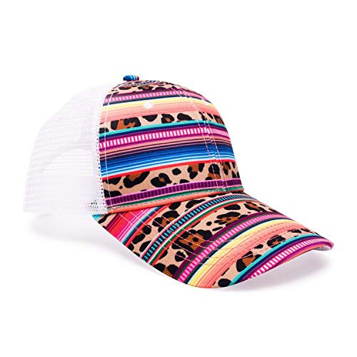 XINBONG Wholesale Leopard and Serape Baseball Hat Personalized Colorful Stripe Ponytail Cap Adjustable Mesh Hat -