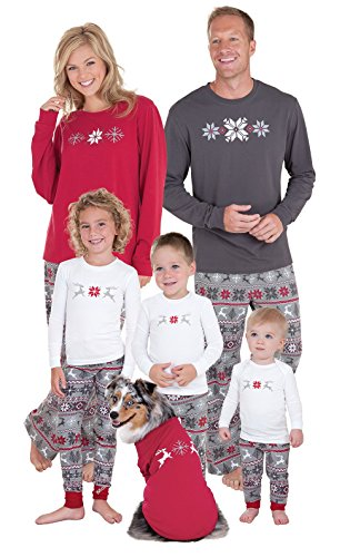 PajamaGram Holiday Nordic Matching Family Pajamas, Youth 8, Red/Gray (Family Pajamas Holiday)