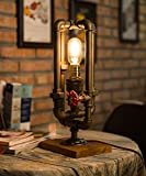 TOFAR Industrial Metal Pipe Vintage Edison Table Lights Night Lamp With Dimmer Switch 40w Blubs