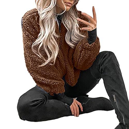 oat Casual Winter Oversized Coat Ladies Borg Zip Faux Fur Jacket Pockets Warm Coat ()