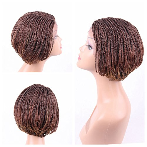 """Search : Jiayi Short Box Braided Lace Front Wigs Bob Style Full Braids with Natural Side Hand-tied Part Half Hand-made Braided Wigs for African American Women with Baby Hair for Daily Wear(6"""",27/30)"""