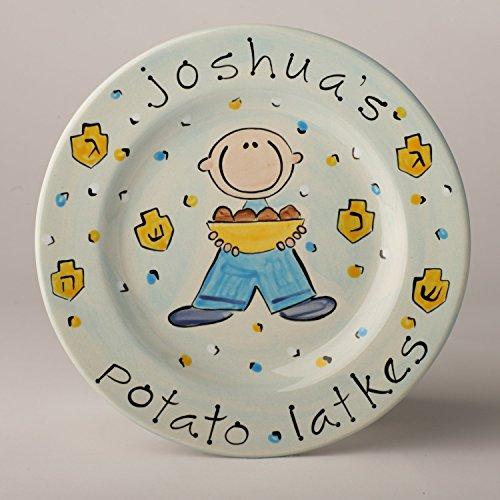 Potato Latke Hanukkah Ceramic Plate Personalized for Boy