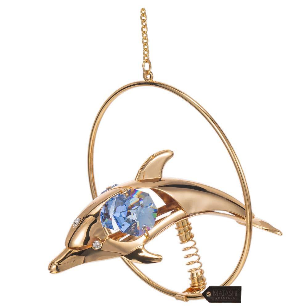 Matashi 24K Gold Plated Crystal Studded Tortoise Ornament CT0250