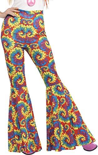 Ladies Tie Dye 1960s 1970s Hippie Hippy Kick Flares Peace Woodstock Fancy Dress Costume Outfit Trousers (UK 16-18) ()