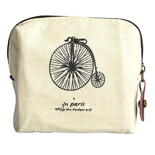 (Mini Women Canvas Purse Vintage Wallet Card Coins Cash Holders Clutch Handbag (Beige))