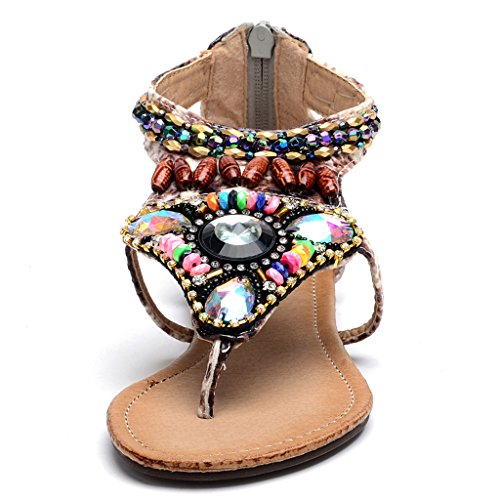 Boheme Odema Clip orteil 758 Perles Femme Sandales Beige Strass Plat wBBar