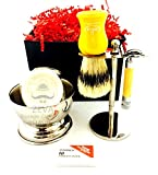 Gold Mens Shaving Set Omega Boar Bristle Shaving Brush Collectible Safety Razor Classic Shave Vintage Holiday Season Gift Idea