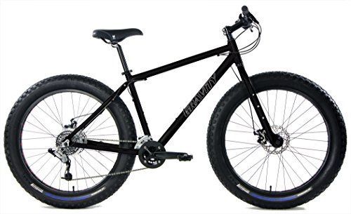 "Aluminum Fat Bikes with Powerful Disc Brakes Gravity Monster Mens Fat Tire Bicycle 26"" x 4"" (Gloss Black, 18in)"